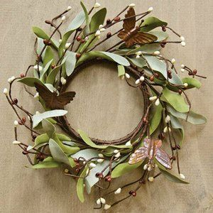 """Rusty Butterfly & Herb Foliage Faux 6.5"""" Ring"""